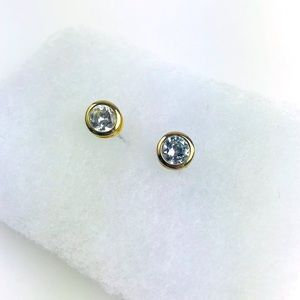Kate Spade Gold Cubic Zirconia Solitaire Earrings